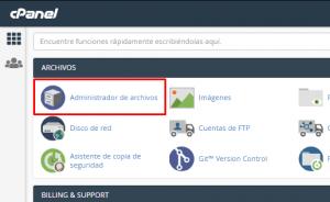 Administrador de archivos para subir página en cPanel